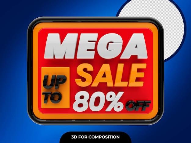 Mega sale 3d com desconto de até 80% do psd premium