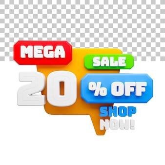 Mega sale de renderização 3d com 20% de desconto no texto
