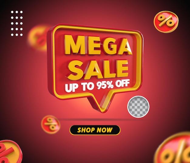 Mega venda 3d renderização de 95 por cento da oferta