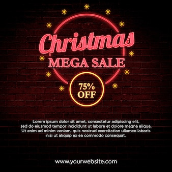 Mega-venda de natal 75% de desconto banner em design de estilo neon