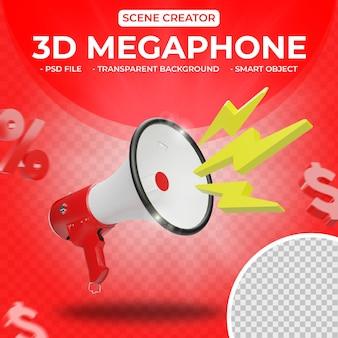 Megafone 3d para o criador de cena, renderização em 3d isolado