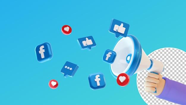 Megafone 3d portátil com ícones de redes sociais e facebook