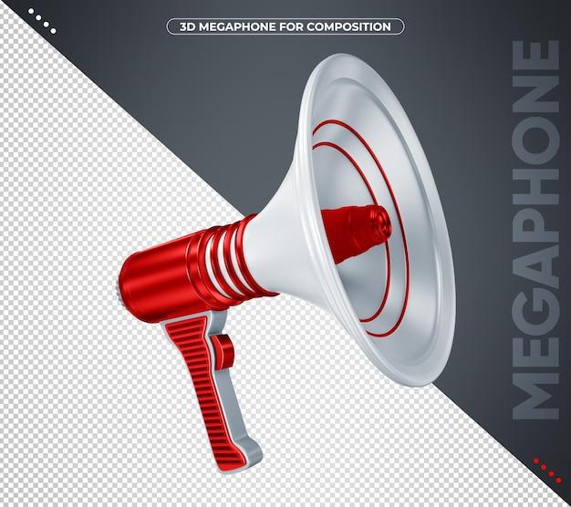 Megafone vermelho 3d para composição isolada