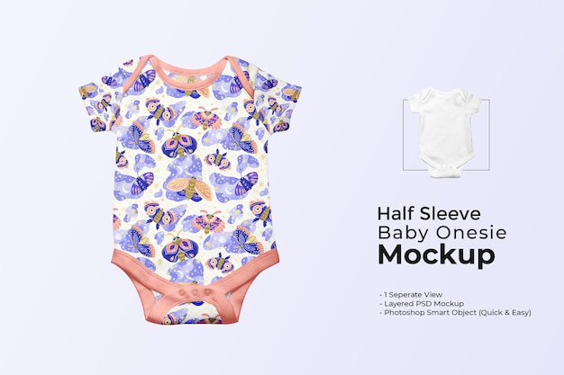 Meia manga-bebê-macacão-maquete