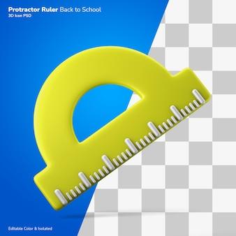 Meio disco transferidor graus régua ícone renderização 3d editável isolado