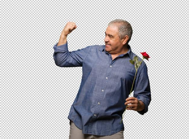 Meio envelhecido homem comemorando o dia dos namorados que não se render