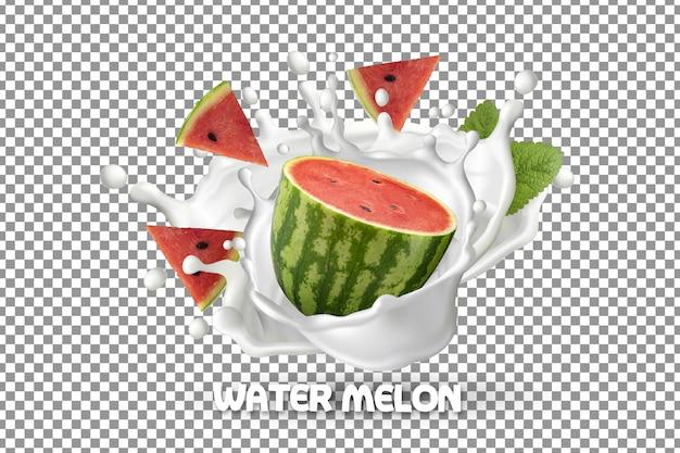 Melancia fresca e fatias de melancia com respingos de iogurte de leite isolados