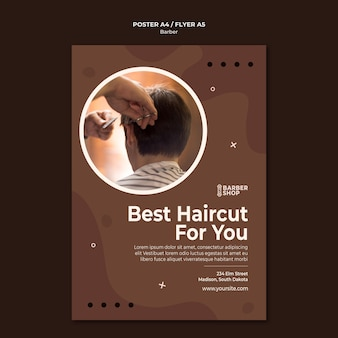 Melhor corte de cabelo para você, homem, modelo de pôster de barbearia