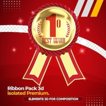Melhor fita de prêmio para composição em maquete de renderização 3d