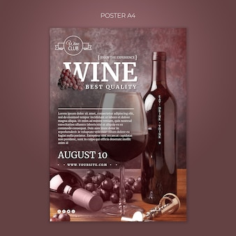Melhor modelo de cartaz de degustação de vinhos de qualidade