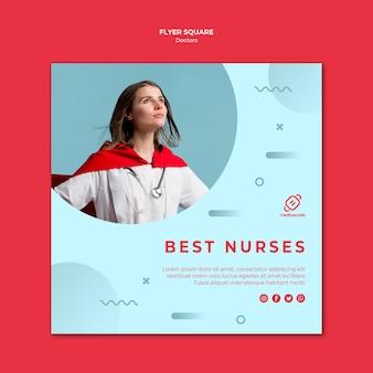Melhor modelo de panfleto quadrado de enfermeiras
