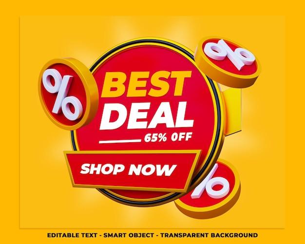 Melhor oferta banner 3d promoção mídia social post