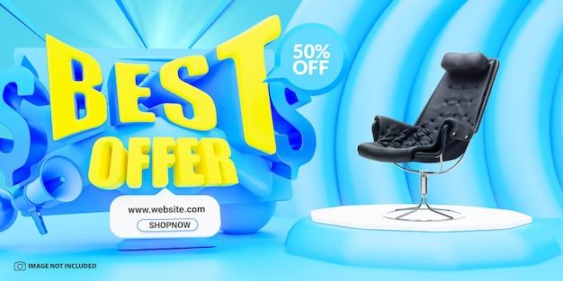 Melhor oferta modelo de design de banner de venda
