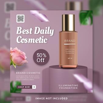 Melhor postagem diária em mídia social para promoção de produtos de cuidados com a pele ou modelo de banner