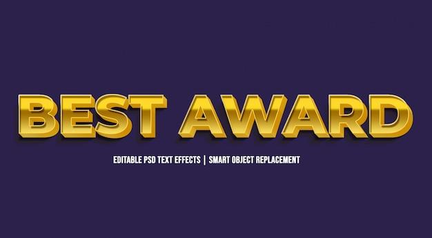 Melhor prêmio - efeitos de texto dourado de luxo