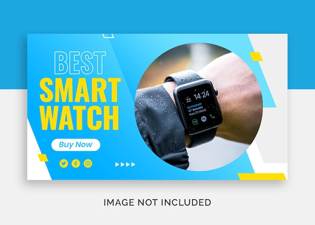 Melhor relógio inteligente miniatura do youtube ou modelo de banner da web
