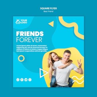 Melhores amigos panfleto quadrado