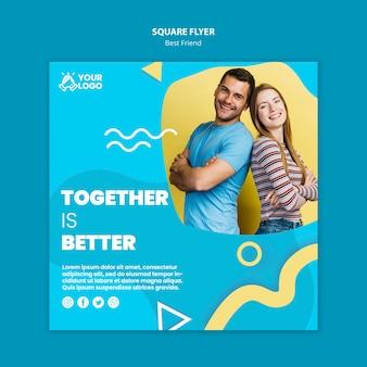Melhores amigos quadrados flyer design