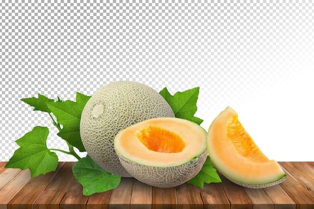 Melões na mesa de madeira isolada