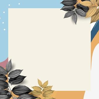 Memphis frame psd com folhas