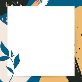 Memphis frame psd com folhas Psd grátis