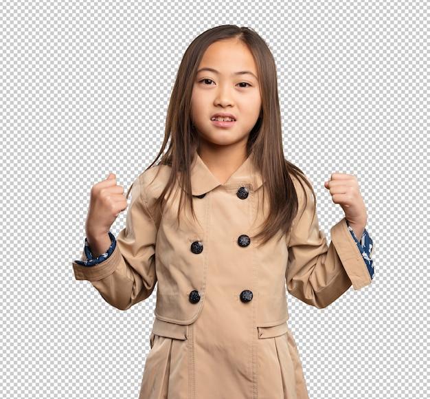 Menina chinesa fazendo gesto forte