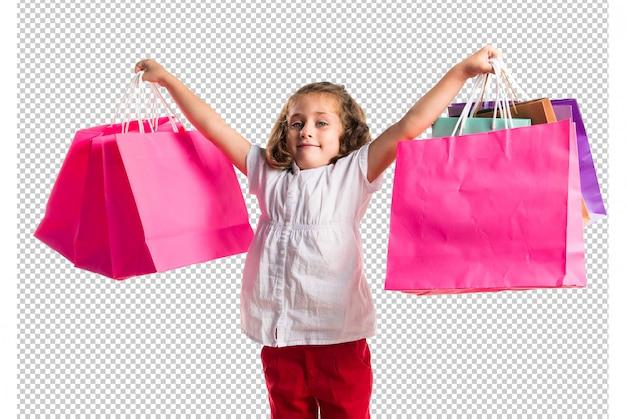 Menina, com, muitos, bolsas para compras