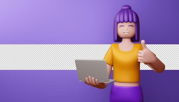 Menina feliz com o polegar para cima com renderização 3d de caderno