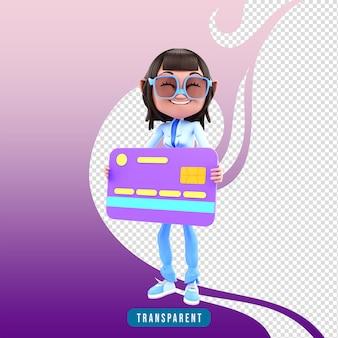 Menina personagem 3d com cartão de crédito