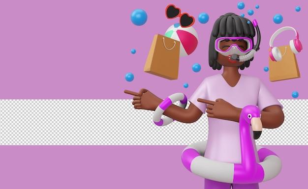 Menina usando máscara de mergulho em ringue de flamingo com acessório de praia