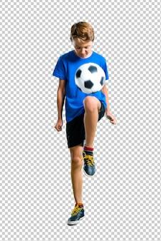 Menino, futebol jogando