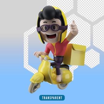Mensageiro de caracteres em 3d e scooter com o polegar para cima