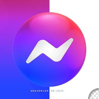 Mensageiro de logotipo em design de elipse 3d