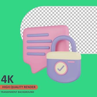 Mensagem 3d cyber icon ilustração renderização de alta qualidade