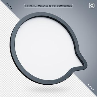 Mensagem 3d do instagram para composição