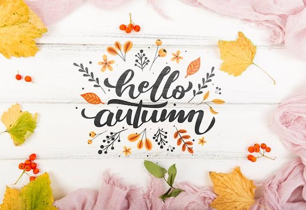 Mensagem de boas-vindas colorida para o outono