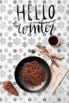 Mensagem de café e olá inverno