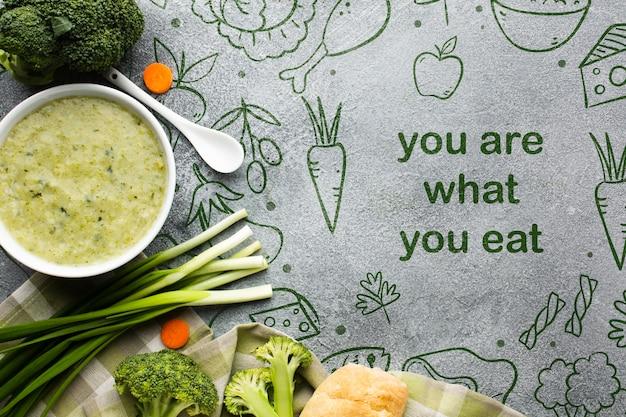 Mensagem de comida e legumes organizados