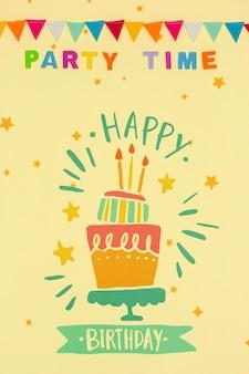 Mensagem de feliz aniversário com maquete