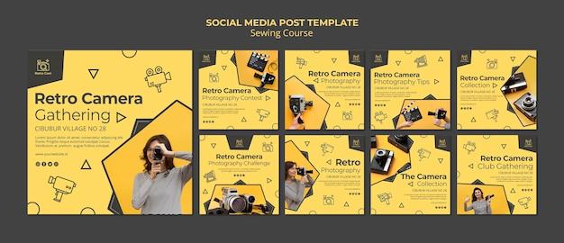Mensagem de mídia social da câmera retro