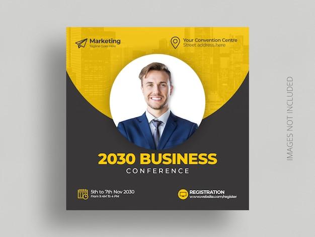 Mensagem de mídia social da conferência de negócios