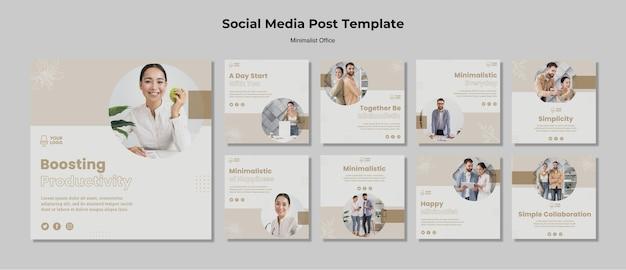 Mensagem minimalista de mídia social do escritório