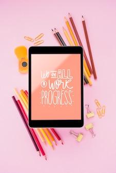 Mensagem positiva no modelo de tablet