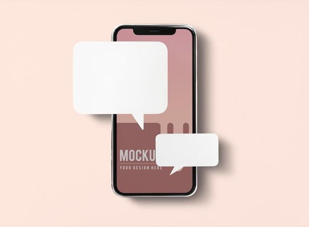 Mensagens de bate-papo em maquete de telefone celular