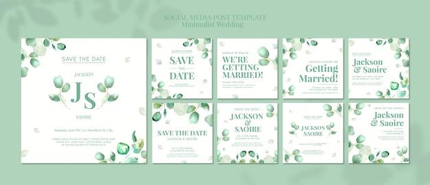 Mensagens de mídia social de casamento minimalista