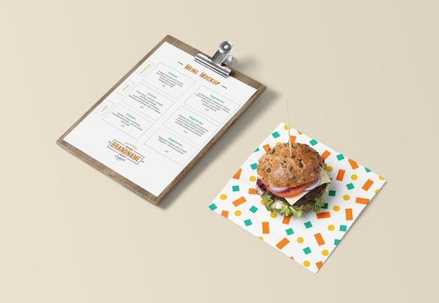 Menu a4 com hambúrguer e maquete de guardanapo