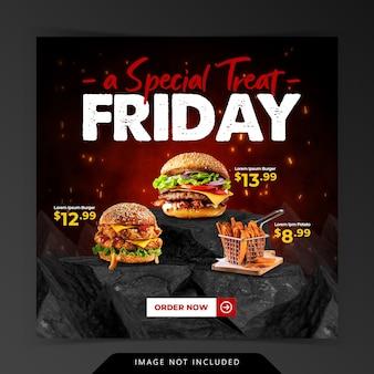 Menu burger grill em modelo de banner de mídia social de promoção de pedra de carvão vegetal