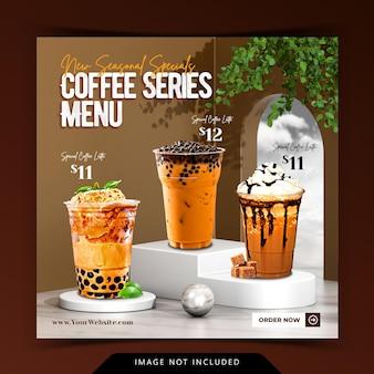 Menu criativo de bebidas de café com renderização de fundo de pódio 3d para modelo de postagem do instagram