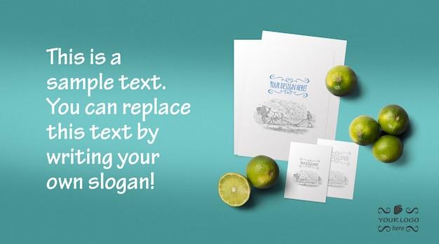 Menu de alimentos orgânicos e maquete de cartão de visita