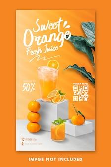 Menu de bebidas com suco de laranja mídia social modelo de histórias do instagram para promoção de restaurantes